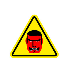 angry boss warning sign yellow evil head hazard vector image