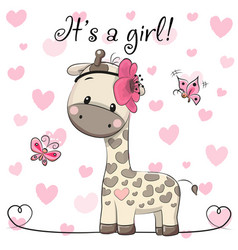 Baby shower greeting card with giraffe girl vector