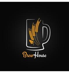 beer bottle glass barley design menu background vector image