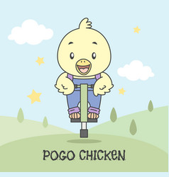 bird use pogo for jump in park vector image