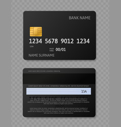 black credit card realistic credit debit cards vector image