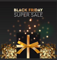 black friday sale banner poster logo golden color vector image