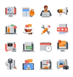 Blogging Flat Icons Set vector image