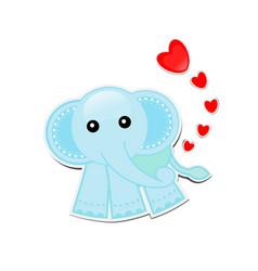 Blue elephant cartoon with hearts on white vector