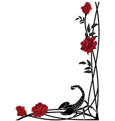 border with roses and scorpion vector image