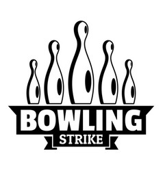 bowling strike logo simple style vector image