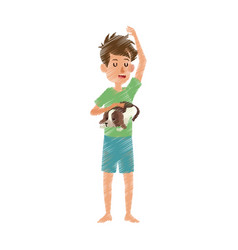 boy with closed eyes icon image vector image