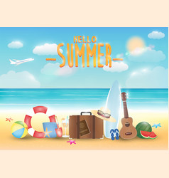 Bright summer sea beach with summer object vector