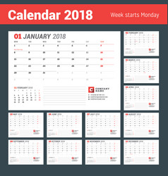 Calendar template for 2017 year business planner vector