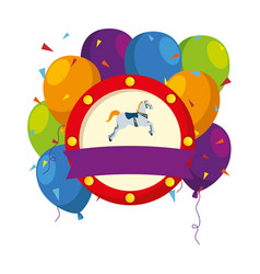 Carousel horse carnival with balloons helium vector