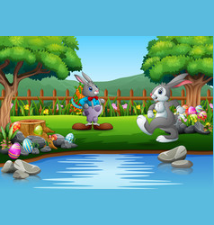 cartoon easter rabbit playing in the park vector image