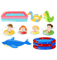Children swimming and other equipments vector