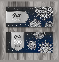 christmas gift voucher card set template with vector image