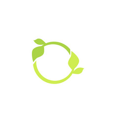 circle icon with leaves recycle green logo vector image