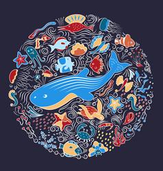 Circular ornament from sea animals fish vector