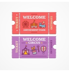 Circus and Amusement Park Tickets Flat Icon Set vector