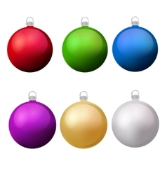 Classic christmas balls with glance set isolated vector