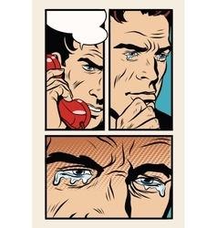 Comic storyboard man on the phone and cries vector image