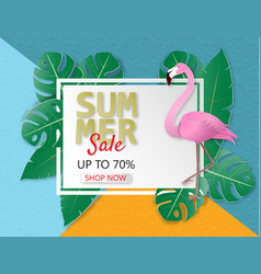 creative summer sale banner with flamingo and vector image