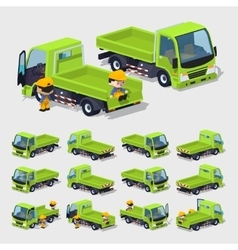 Cube World Empty green truck vector