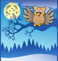 Cute flying owl in snowy landscape vector