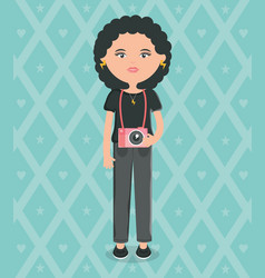 cute woman with camera photographic street style vector image