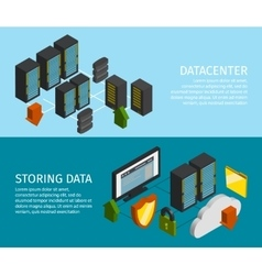 Datacenter banner set vector