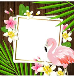 Decorative floral frame with tropical flowers vector
