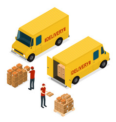 Delivery car logistic service isometric view vector