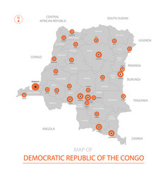 democratic republic of the congo map with vector image