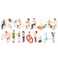 diabetes isometric icon set vector image