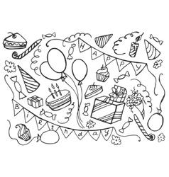 Doodle set happy birthday vector