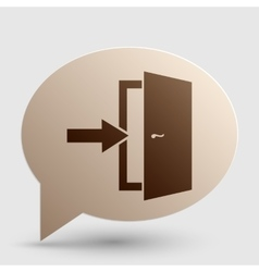 Door Exit sign Brown gradient icon on bubble with vector