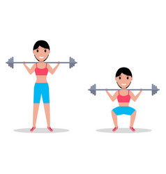 Exercise squatting with a barbell vector