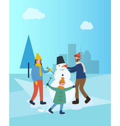 Family building snowman in winter city town park vector