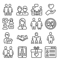 friendship and love relationship icons set line vector image