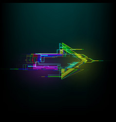 Futuristic glitch right arrow in cyberpunk style vector