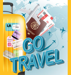 Go travel concept with yellow bag vector