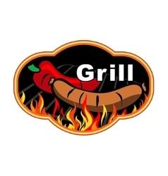 Grill label design vector