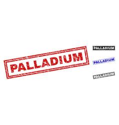 Grunge palladium scratched rectangle stamp seals vector