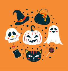 halloween greeting card with cute cartoon elements vector image