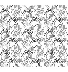 hand arms palms lines grayscale seamless pattern vector image