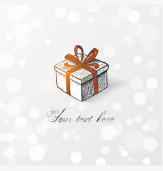 Hand drawn doodle sketch gift box with red ribbon vector