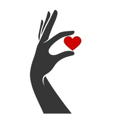 Hand with Heart Icon vector