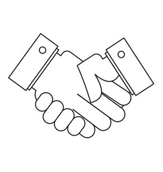 Handshake icon outline style vector