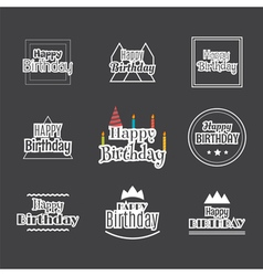 Happy Birthday set Label design collection vector image