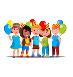 happy children in party caps with balloons vector image