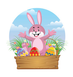 happy rabbit with easter egg vector image