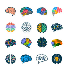 human brain collection creative silhouettes of vector image