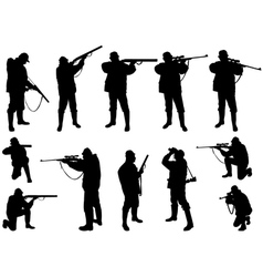 hunters silhouettes vector image
